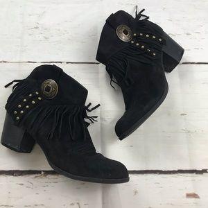 Indigo Rd black suede western style fringe booties